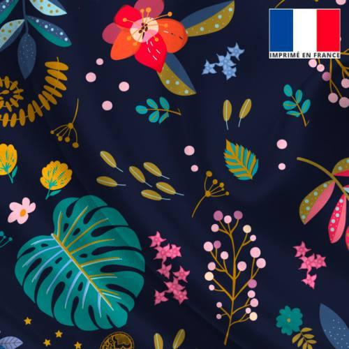 Satin bleu de minuit motif feuilles bleues et bleu-vert