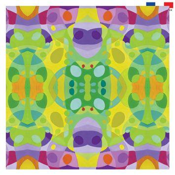 Coupon 45x45 cm motif formes vertes - Création Lita Blanc