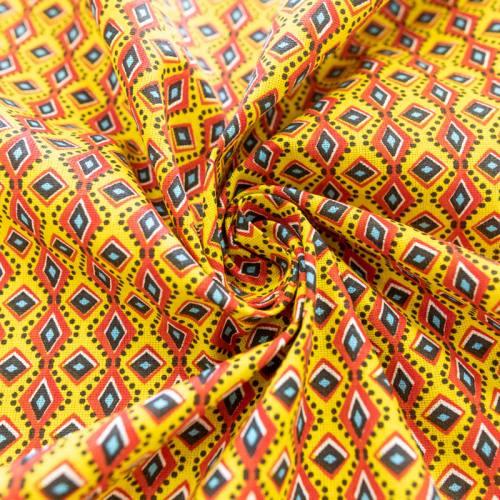 Coton jaune imprimé wax losanges rouges et points noirs