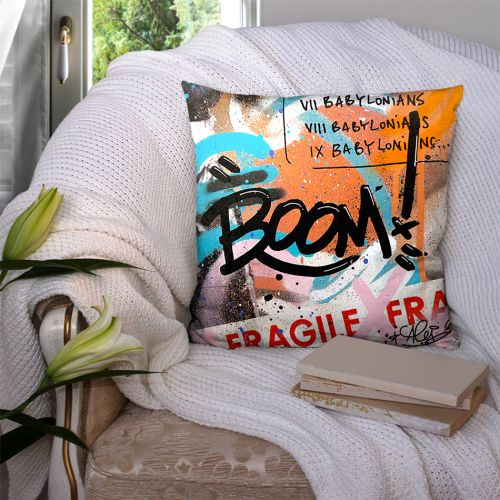 Coupon 45x45 cm orange motif graffiti boom - Création Alex Z