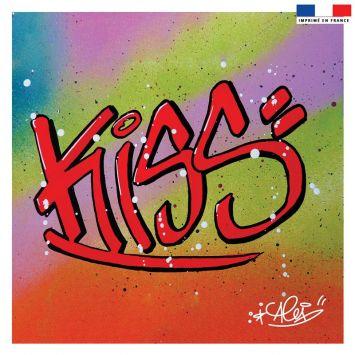 Coupon 45x45 cm rouge motif graffiti kiss - Création Alex Z