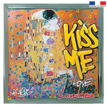 Coupon 45x45 cm jaune motif graffiti kiss me - Création Alex Z