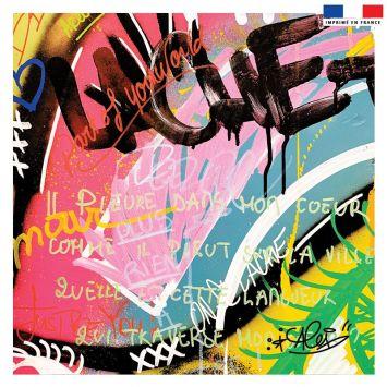 Coupon 45x45 cm multicolore motif graffiti love - Création Alex Z
