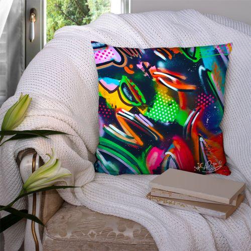 Coupon 45x45 cm multicolore motif graffiti street art - Création Alex Z