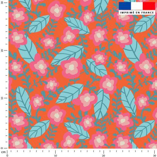 Tissu imperméable orange motif fleur rose - Création Julia Amorós
