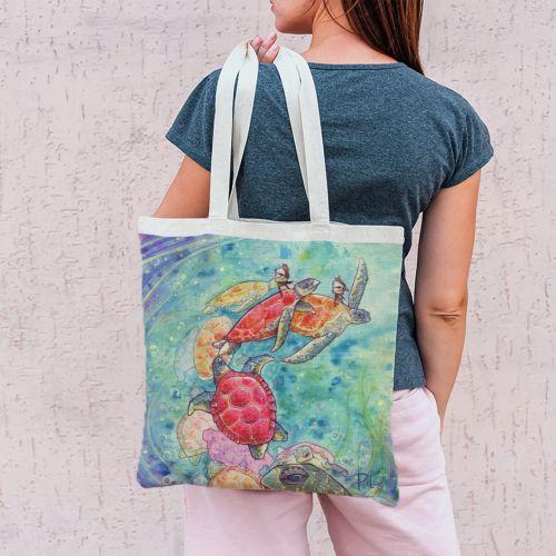 Coupon 45x45 cm vert d'eau motif tortue de mer - Création Pilar Berrio
