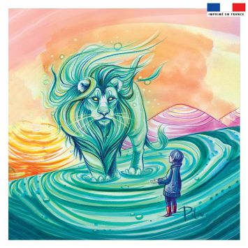 Coupon 45x45 cm vert motif lion - Création Pilar Berrio