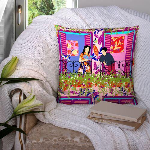 Coupon 45x45 cm rose motif couple au balcon - Création Julia Amorós