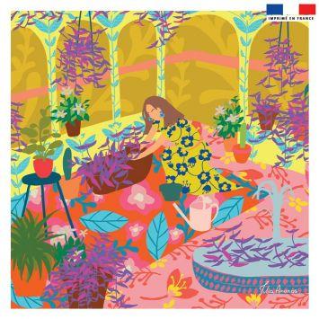 Coupon 45x45 cm rose motif jardin - Création Julia Amorós
