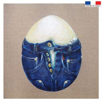 Coupon 45x45 cm motif oeuf - Face - Création Véronique Baccino