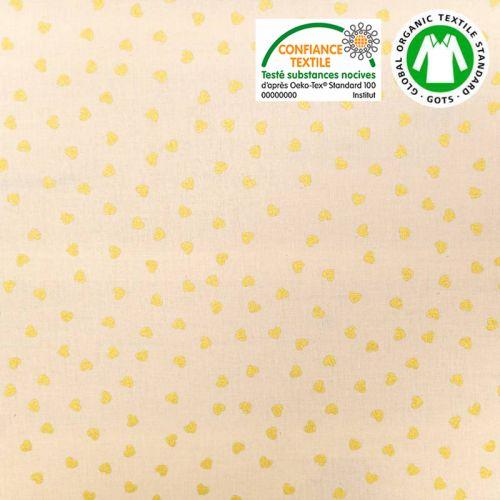 Coton bio naturel imprimé coeurs dorés Oeko-tex