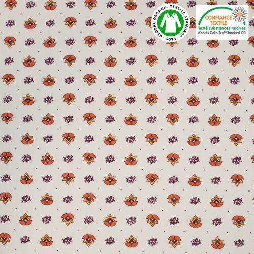 Coton bio grège motif provençal orange Oeko-tex