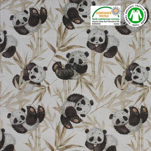 Coton bio écru motif panda et feuilles marron Oeko-tex