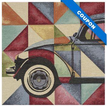 Carré de jacquard 47x46 cm motif voiture vintage