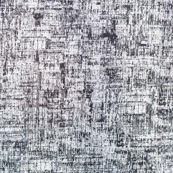 Tissu jacquard noir blanc et argent chiné