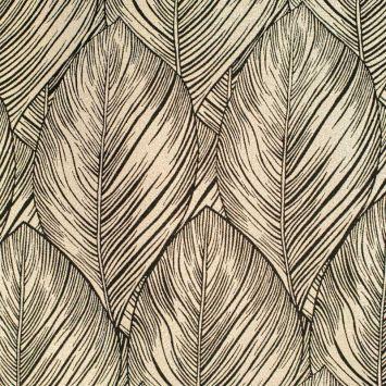 Tissu jacquard noir réversible motif feuille de palmier avec fil lurex doré