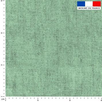 Tissu imperméable aspect lin vert pastel