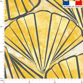 Tissu imperméable jaune motif coquillage - Création Marie-Eva