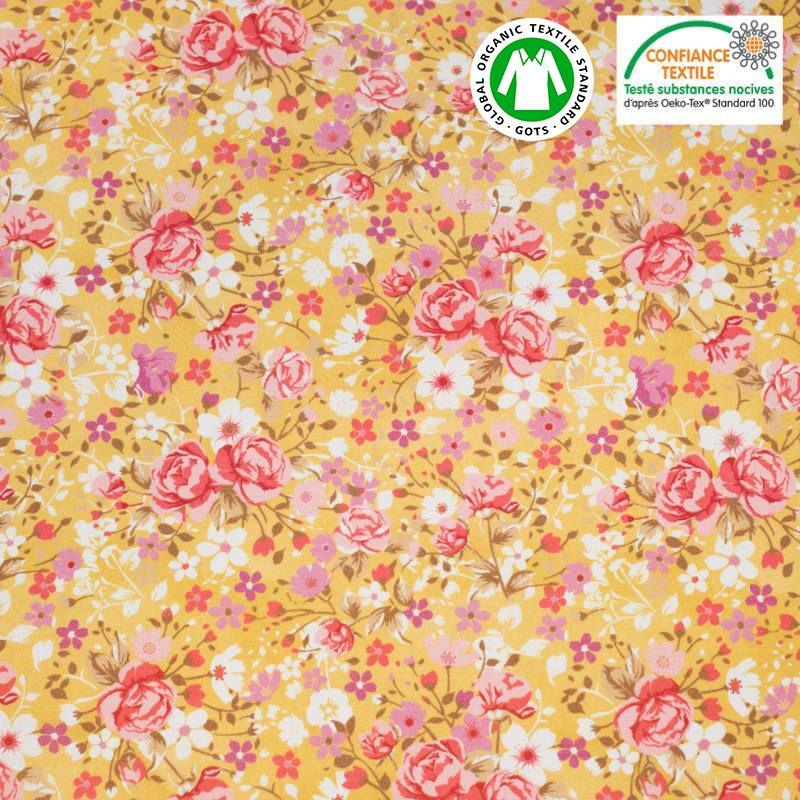 Coton bio jaune maïs motif petites fleurs roses Oeko-tex