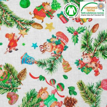 Coton écru motif vache de Noël Oeko-tex