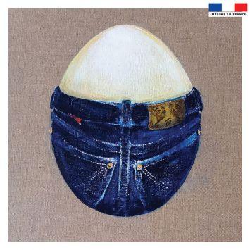 Coupon 45x45 cm motif oeuf - Fond - Création Véronique Baccino
