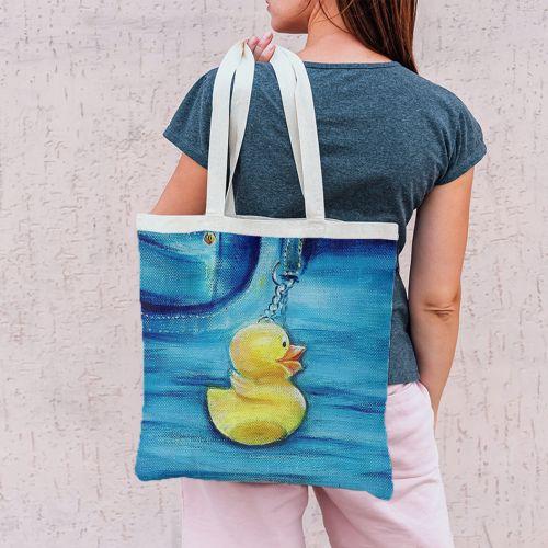 Coupon 45x45 cm motif canard - Création Véronique Baccino