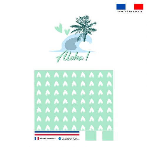 Kit pochette vert motif aloha