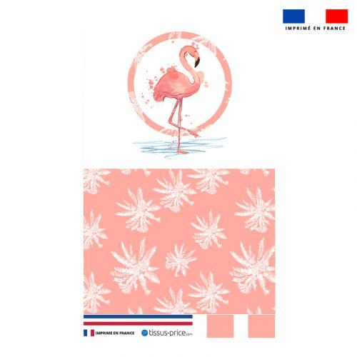 Kit pochette rose motif flamant et palmier
