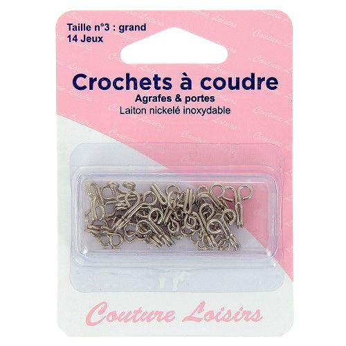 Crochets à coudre nickelés avec brides X14 taille 3