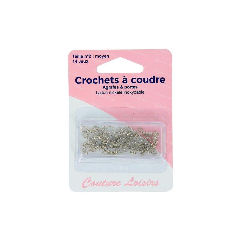 Crochets à coudre nickelées avec brides X14 taille 2