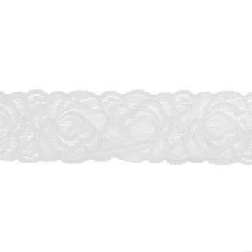 Dentelle élastique à fleurs blanc 60mm