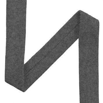 Biais jersey gris chiné foncé 20mm