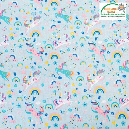 Popeline de coton bleue motif licorne et fleurs Oeko-tex