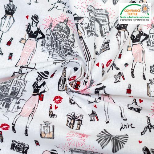 Popeline de coton blanc motif accessoires femme Oeko-Tex