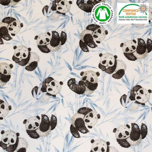 Coton bio écru motif panda et feuilles bleues Oeko-tex