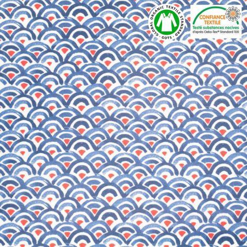Coton bio écru motif demi-cercle bleu et rouge Oeko-tex