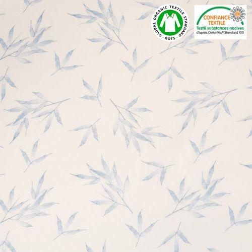 Coton bio écru motif plante bleue Oeko-tex