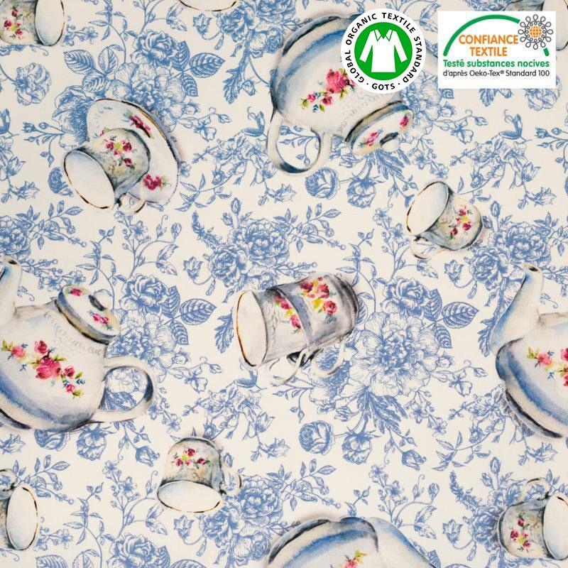 Coton bio écru motif bleu tasse fleurie Oeko-tex