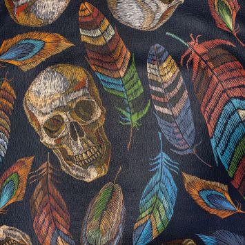 Simili cuir multicolore motif tête de mort effet brodé