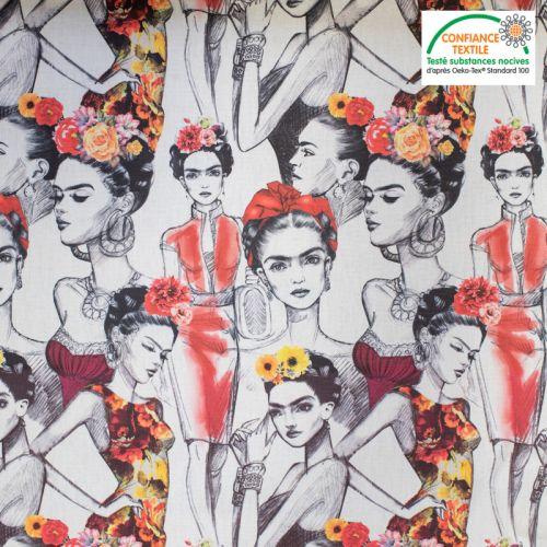 Toile coton imprimée femme mexicaine Oeko-tex