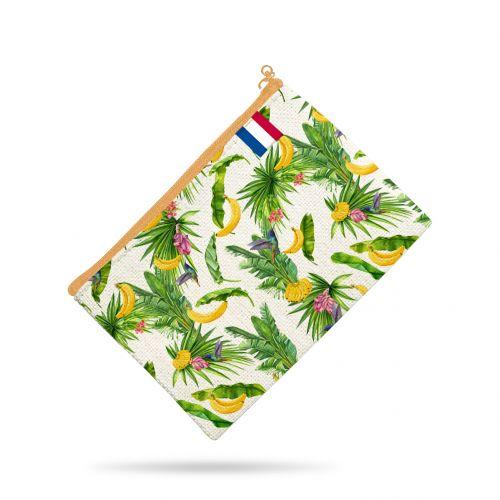 Kit pochette beige motif feuille et banane