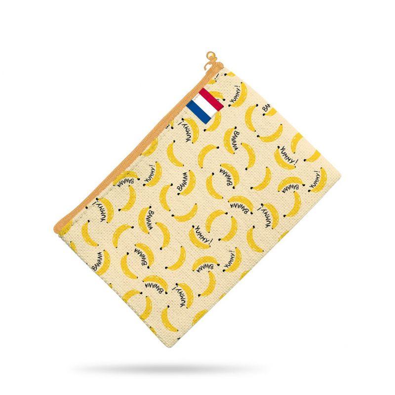 Kit pochette écru motif banana