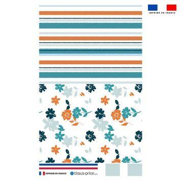 Kit pochette écru motif fleur orange et bleue et rayure