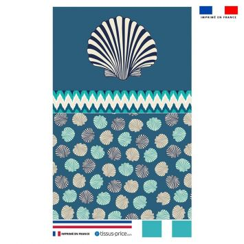 Kit pochette bleu motif coquillage et rayure