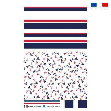 Kit pochette motif bateau et marinière tricolore
