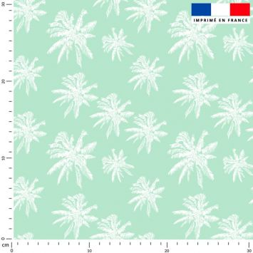 Palmier blanc - Fond vert d'eau