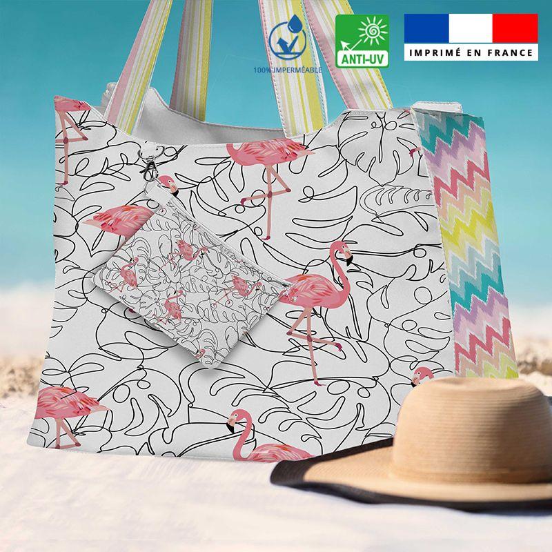 Kit sac de plage imperméable motif flamant rose - King size