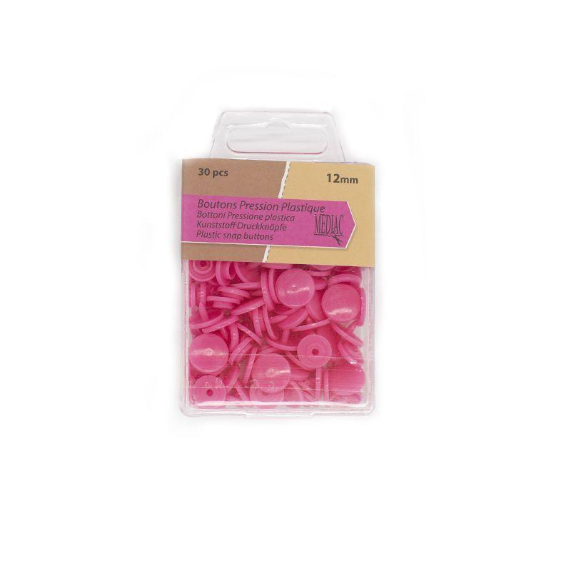 Boutons pression plastique x30 rose fuchsia