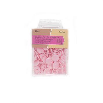 Boutons pression plastique x30 rose pastel
