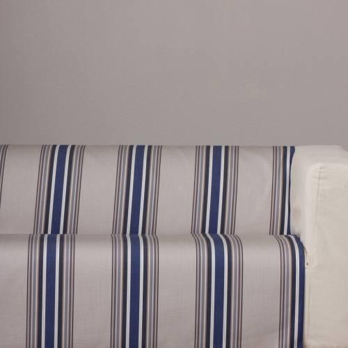 coupon - Coupon 44cm - Toile extérieure Téflon rayures grise et bleu